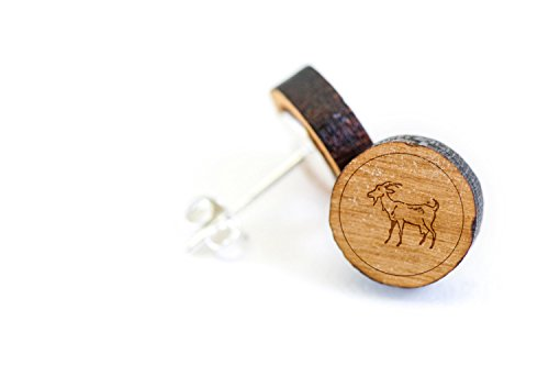 WOODEN ACCESSORIES COMPANY Wooden Stud Earrings With Goat Laser Engraved Design - Premium American Cherry Wood Hiker Earrings - 1 cm Diameter