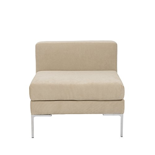 Euro Style Vittorio Modern Upholstered Sofa Sectional, Armless Unit, Tan