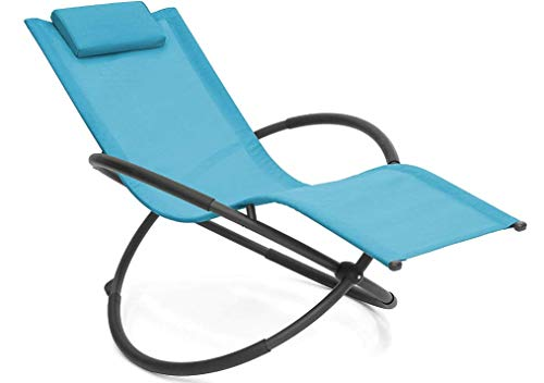 Outdoor Orbital Lounger Zero Gravity Chaise Foldable Rocking Chair for Camping, Fishing, Beach, Patio (Sky Blue)