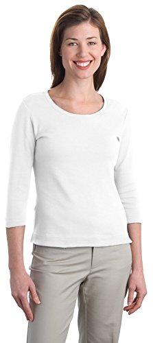 s Modern Stretch Cotton 3/4-Sleeve Scoop Neck Shirt, White, Medium ()