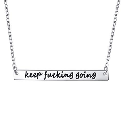 ALPHM S925 Sterling Silver Inspirational Keep Going Friendship Mantra Bar Pendant Necklace for Women Men Boy Teen Girl Graduation Gift