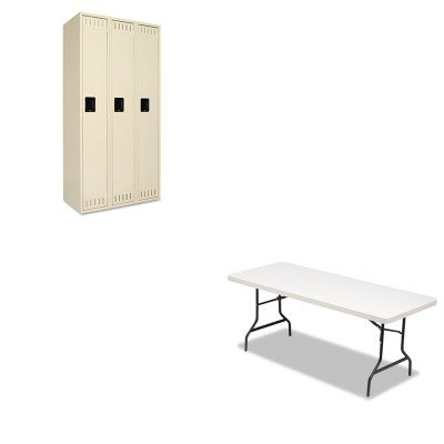 Tennsco Single - KITALE65600TNNSTS121872CSD - Value Kit - Tennsco Single Tier Locker (TNNSTS121872CSD) and Best Resin Rectangular Folding Table (ALE65600)