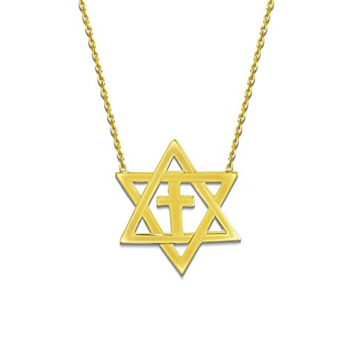 Cross and David Star Religious Charm Yellow Gold