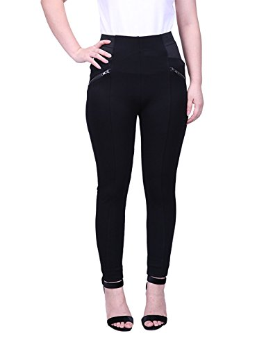 HDE Womens Plus Size Slimming Dress Pants Pull On Skinny Work Trousers (Black, ()
