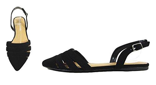 Ville Classée Assorties Chaussures Plates Femme Cheville Sangle Jambe Enveloppements Bout Pointu Hôte Avec Trois Coupes Entrelacées Mve Chaussures Noir Nb