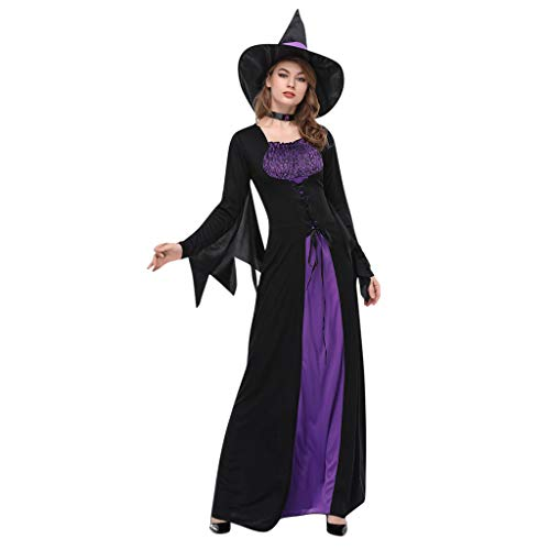Dainzuy Women Wicked Witch Costume,Halloween Costumes Wicked Witch Cloak with Hat Dress Long Sorceress Classic Dress ()
