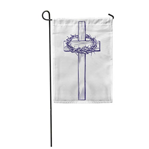 Semtomn Garden Flag 28x40 Inches Print On Two Side Polyester Belief Crown of Thorns Wooden Cross Easter Symbol Christianity Sketch Biblical Home Yard Farm Fade Resistant Outdoor House Decor Flag