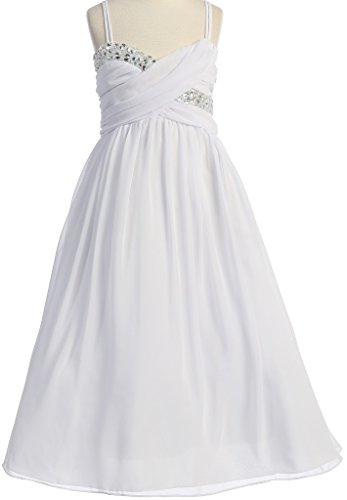 Price comparison product image Big Girls' Wrapped Crystal Ruched Chiffon Gown Flowers Girls Dresses White 20 (J35K56)
