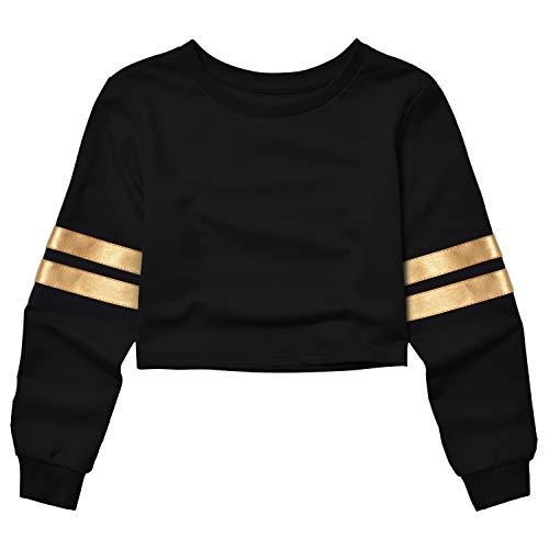 (Mirawise Women's Cropped Sweatshirt Long Sleeve Champagne Gold Stripe Crop Top for Teenagers)