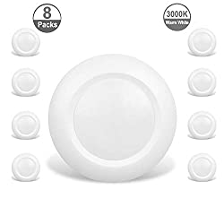 Jullison 8 Packs 6 Inch Led Low Profile Recessed Surface Mount Disk Light Round 15w 900 Lumens 3000k Warm White Cri80 Driverless Design Dimmable Energy Star Etl Listed White