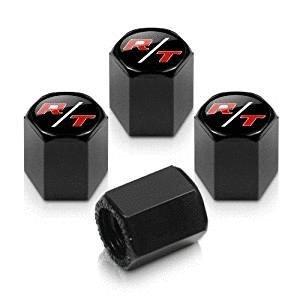 4pcs Red R/T Logo Black Tire Stem Valve Caps Accessories Car Products Compatible Fit For USA Auto Model Dodge
