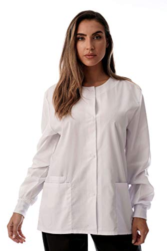Just Love Womens Solid Medical Scrub Jacket 4501-WHT-XS