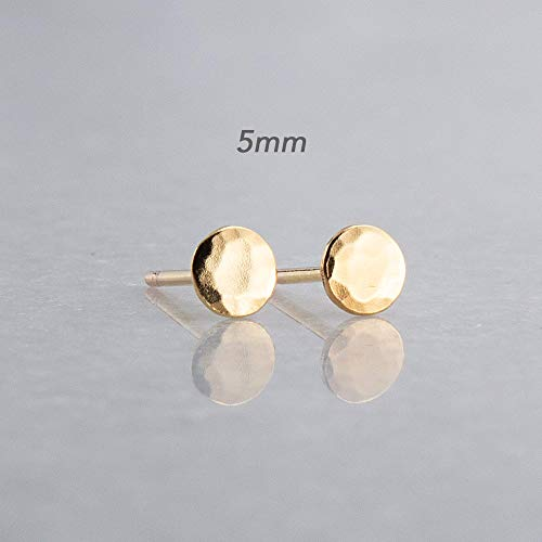Disc Filled Gold (5mm Tiny Minimalist Stud Earrings Flat Disc Gold Filled Earrings, GF-5MM-HAMMERED)