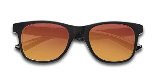(KZ Gear - The Caspian FLOATING SUNGLASSES - Kids Matte Black Frame - Classic Modern Shaped - Red Polarized UV400)
