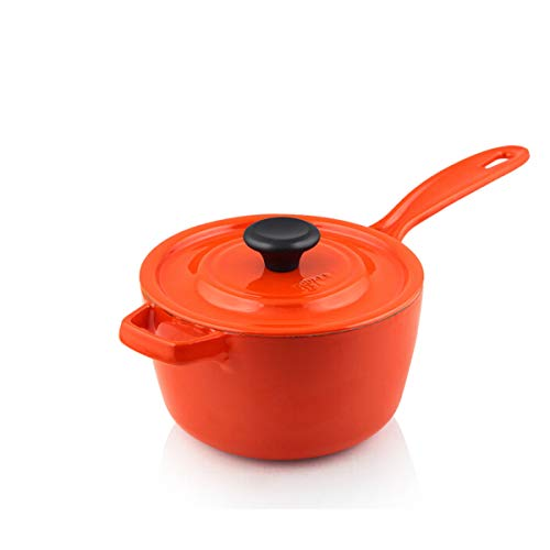 - QINRUIKUANGSHAN Milk Pot, No Coating, Thick Cast Iron Enamel, Orange, Small Stock Pot, 16cm Baby Food Supplement Pot, Induction Cooker Gas Gas Stove Open Flame Universal - The Best Choice