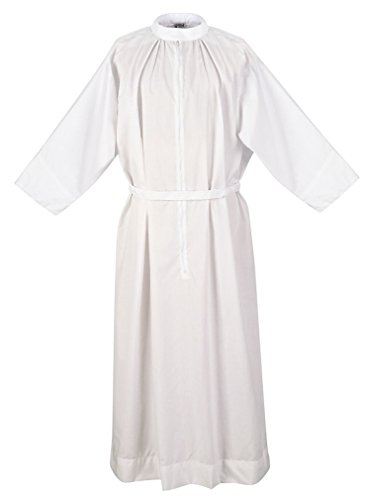 Abbey Brand Clergy Fitted Alb with Standup Collar, White (Large) by Abbey Brand