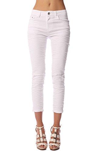 Q2 Mujer Vaqueros pitillo tobilleros de talle medio blanco