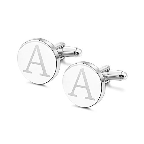 MOWOM Silver Tone 2PCS Rhodium Plated Cufflinks Initial Letter Capital Alphabet A Shirt