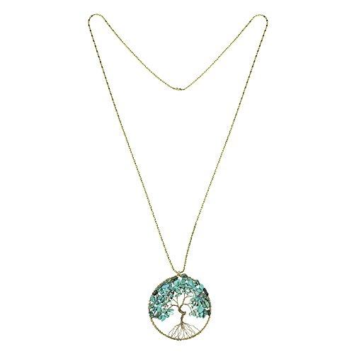 Aeravida Imitation Arbre Perles Vie Pierre Long De Laiton Éternelle Turquoise Collier rnn1IHA