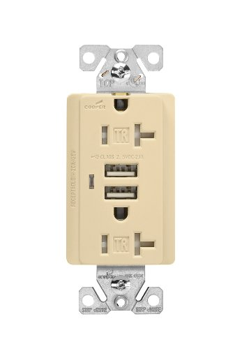 [Eaton TR7746V-BOX Combination USB Charger with Tamper Resistant Receptacle and Box, 20-Amp, Ivory Finish] (Nec La Vie Light)
