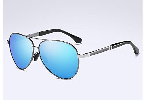 Polarisées silver Soleil HD de Unisexe Sunglasses TL Lunettes blue qualité Hommes Style Lentilles Haute Metal Lunettes qU6Icf