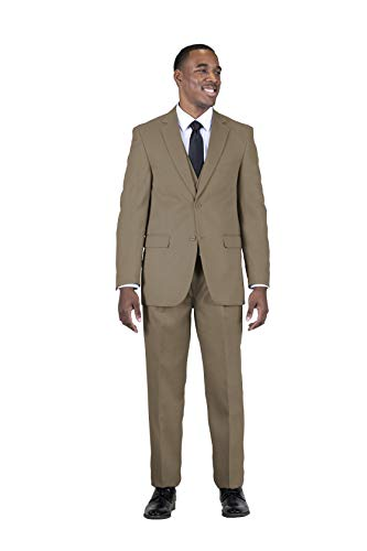 (STACY ADAMS Men's 3 Piece Single Breasted Notch Lapel Solid Suit Taupe)