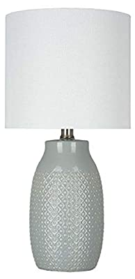Stone & Beam Modern Etched Ceramic lamp - Square Print Table Lamp