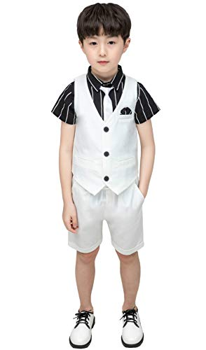 Leisure Suit Shirt - Boys Summer White Suits 4 Pieces Summer Wedding Leisure Suit Vest Shirt Short with Bowtie Size 3T White 90cm