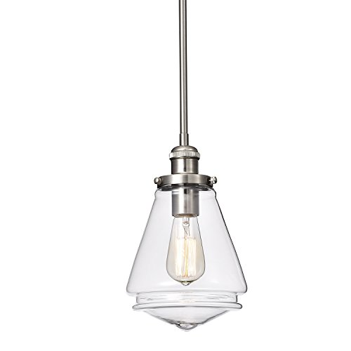 Edvivi 1-Light Brushed Nickel Encased Jar Hand Blown Glass Shade Pendant | Contemporary Lighting