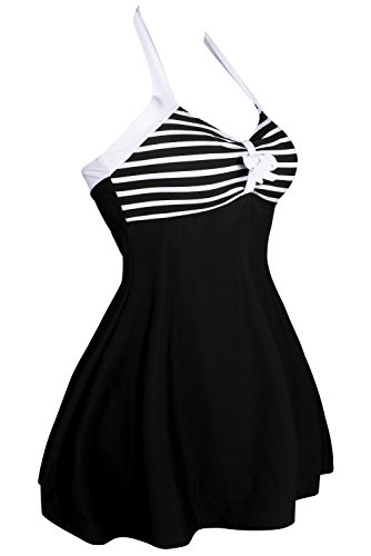 QUEENIE VISCONTI  - Traje de una pieza - para mujer Black White Stripes