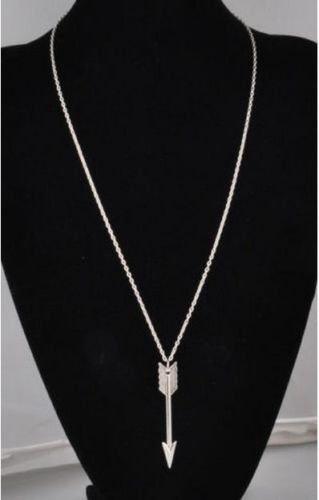 (Fashion Vintage Celebrity Charm Silver Retro Arrow Alloy Chain Pendant Necklace)