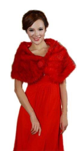 De boda para LuYan mujeres novia perlas de pelo sintético Fluffy Bolero Rosso