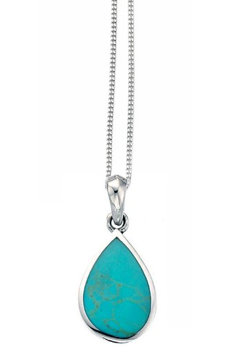 ef71c5984fda Elements Silver Ladies' Turquoise Teardrop Pendant with Sterling Silver  Bracelet Length of 41-46 cm: Amazon.co.uk: Jewellery