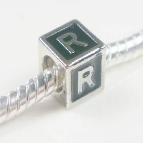 Buckets of Beads Enamel Letter Charm Bead, Monogram R, (Black Enamel Letter Charm)