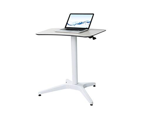 (Pneumatic Adjustable Height Laptop Desk, Sit and Stand Mobile, Ergonomic Design, Excellent Lectern for Classrooms, Offices, and Home! Cartmay(White))