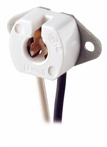 Leviton 420 Miniature Base, Bi-Pin, Standard Fluorescent Lampholder, 6-Inch 18-AWM TEW Wire Leads, Black