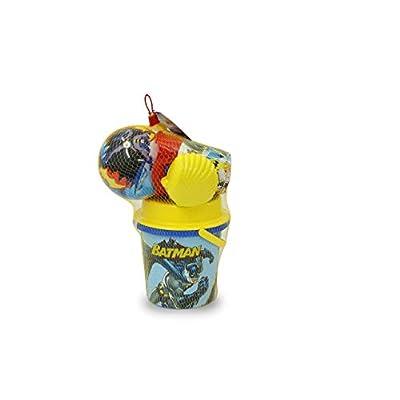 Jamara 410136 Batman Sandbucket Set 7 Pieces Officially Licensed Bucket Shovel Hand Rake Moulds Watering Can Ball Sand Sieve Blue: Toys & Games