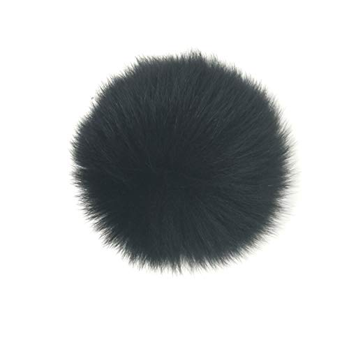 Fox Fur Hair Ball Fluffy Pompom Ball with Rubber Band for Detachable Knit Hats Clothing Accessories Fox Black 13