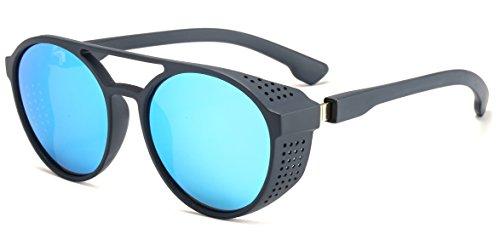 Aviator Round Sunglasses for Men and Women Steampunk Style Inspired Designed PC Frame (Blue Frame Blue Lens)