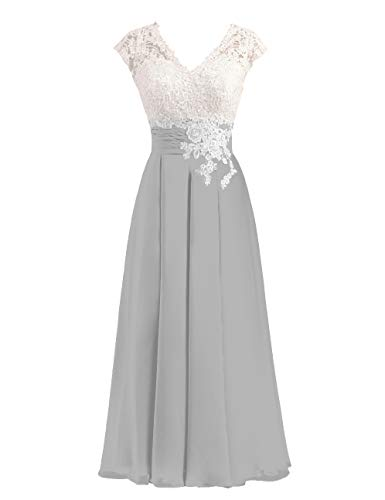 Women's Ivory Lace Top Chiffon Button V-Neck Bridesmaid Dresses with Cap Sleeves Mother of The Bride Dresses (Silver, 14)
