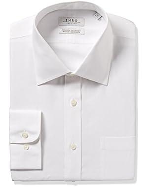 Men's Slim Fit Solid Spread Collar Dress Shirt,
