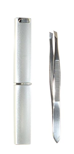 Stainless Steel Slant Tip Tweezers with Case. 1pc