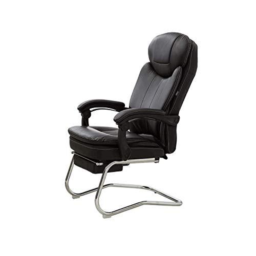 Muebles muy acolchadas respaldo alto reclinable de cuero de vaca 180 ° silla de relajacion Ejecutivo con reposapies, en forma de arco principal silla de la computadora Tao-Miy (Color : Black)