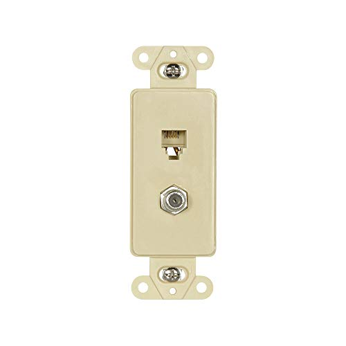 Eaton 3562V Decorator Insert Combination Telephone Jack with 4-Conductors and Type F Coaxial Adapter, Ivory ()