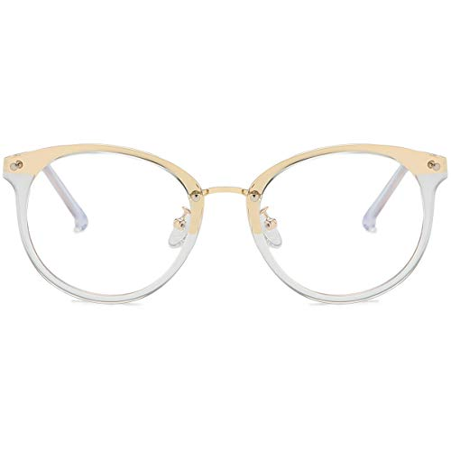 SOJOS Round Anti Blue Light Blocking Glasses Women Computer Eyeglasses Ashley with Crystal Frame/Anti-Blue Light -