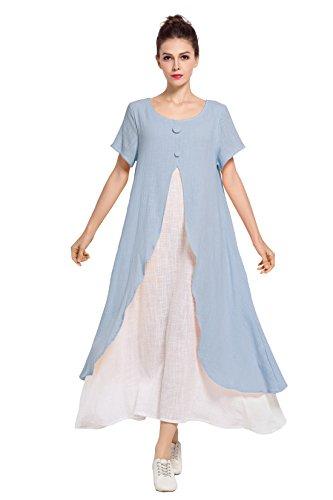 Anysize Faux Deux Pièces Lin Et Coton Robe Printemps Été, Plus Robe De Taille F121a Bleu Clair