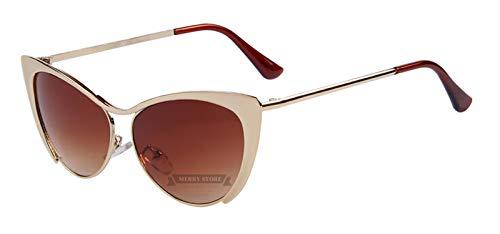 Brand Design Women Half Frame Cat Eye Sunglasses Fashion Vintage Alloy Cat Eye Sunglasses Blue Mirror 7 Color,C04 Gold