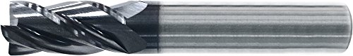KYOCERA AP4-1250.500 Series AP4 Standard Length Corner Radius End Mill, Carbide, AlCrN, 32 Degree/38 Degree Angle, 4 Flute, 0.1250