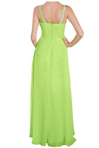 Toscana novia dibujos V-cuello gasa por la noche fiesta de dama de honor vestidos de bola Prom vestidos de largo Verde