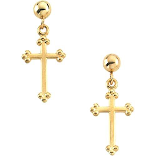 Girl's Treflee' Cross Earrings, 14k Yellow Gold (14x9MM) by The Men's Jewelry Store (for KIDS)